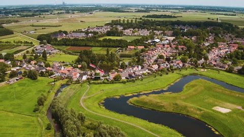 Aerial of a traditional Dutch landscape (Terheijden, Breda, The Netherlands) by drone