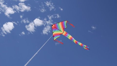 video shows a kids kite flying in the wind
