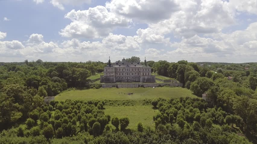 4K. Aerial view of Pidhorodetsky Castle in Lviv region, Ukraine