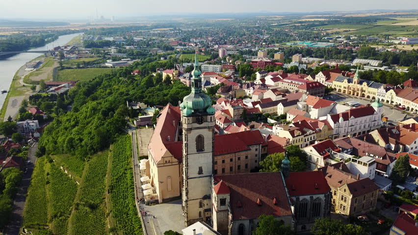 Aerial View of Melnik Old Town Central Square, Castle, and Saint Peter and Paul Church | Shutterstock HD Video #29300698