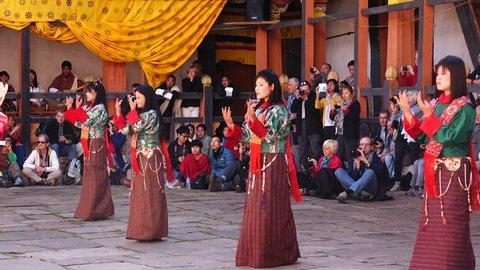 Bumthang, Bhutan - March, 2016: Tamshing Phala Chhoupa festival, Tamshing Monastery, nr Jakar.