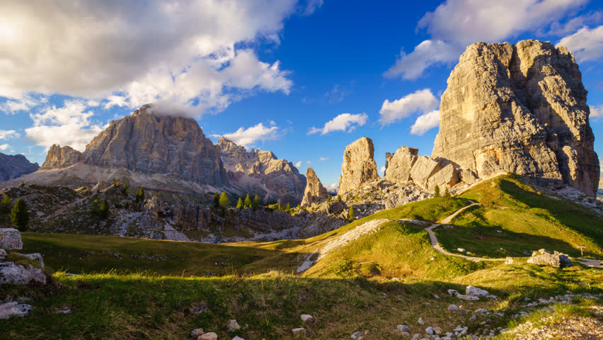 4K Time lapse of Cinque Torri mountain peak at sunset, Dolomites Alps, Italy  | Shutterstock HD Video #29322478