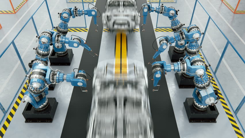 Working Car Conveyor Belt on the Automobile Plant with Spot Welding Robots | Shutterstock HD Video #29327818