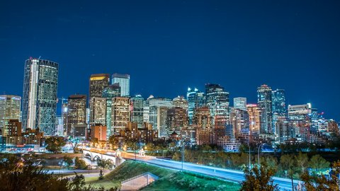 Calgary skyline time lapse at night 4k 1080p - time lapse of downtown calgary alberta and bridge at night