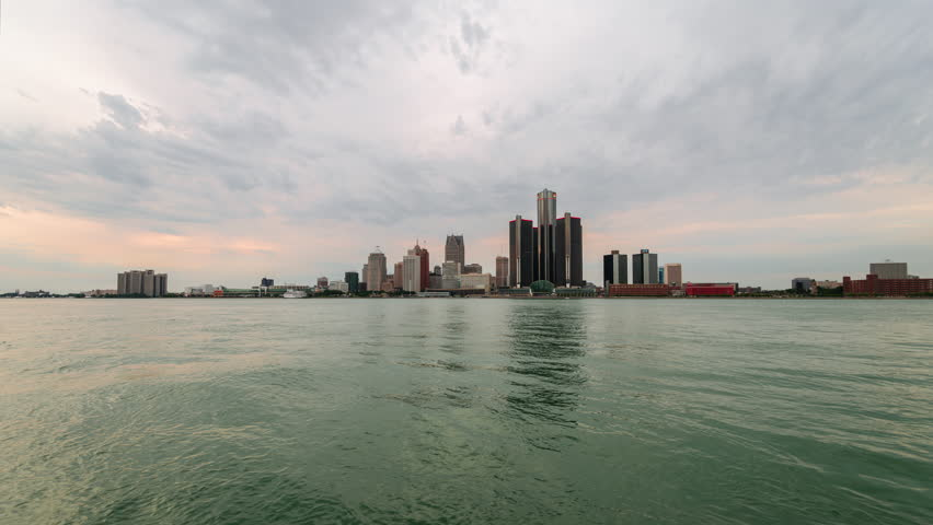 Timelapse of the Detroit Downtown with sunset