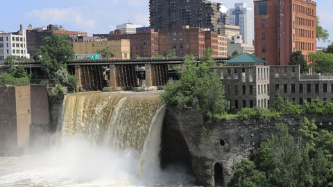 4K UltraHD Timelapse of the High Falls at the city of Rochester, New York