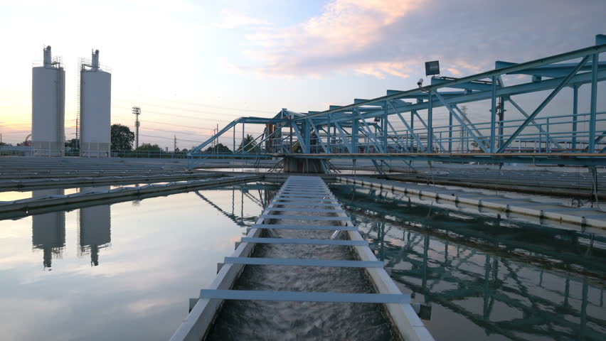 4K Video : Water Treatment Plant with Sunset
