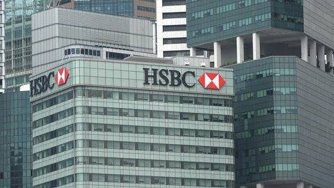 Singapore - may 2017: closeup of hsbc office tower in singapore