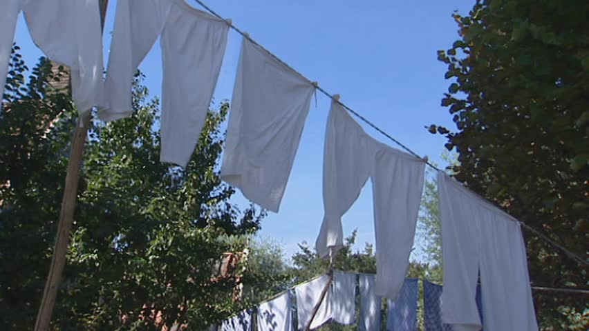 Laundry clothesline white underwear hangs in farmyard - HD stock video clip & Row Of Colorful Colourful Commercial Tents At The Market Backside ...