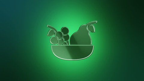 3D Animation rotation of symbol of food, drink, cafe, restaurant, foodstuff and eating from glass. Animation of seamless loop.