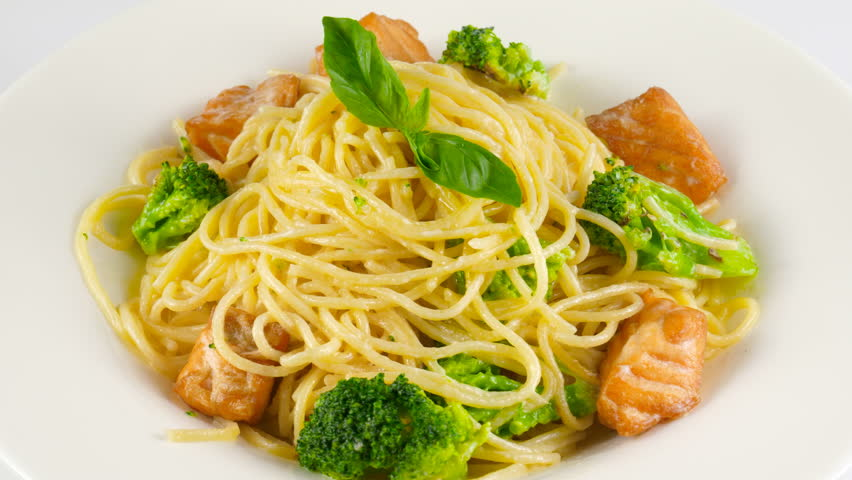 Pasta Salmon With Fried Salmon And Broccoli Loop 4k Prores Codec 422