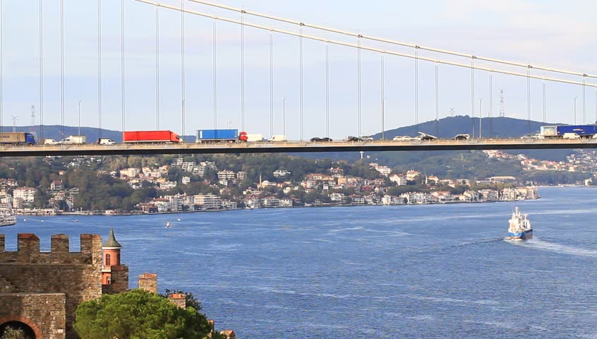 Truck Traffic on the cable bridge