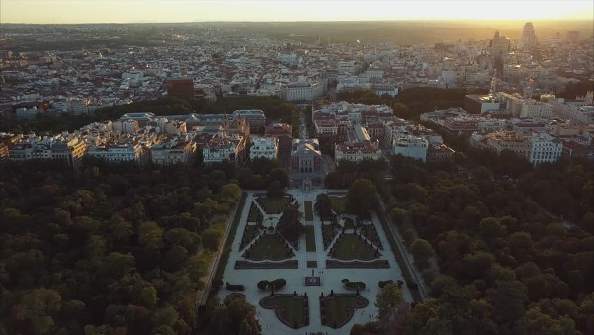 flight drones over the famous Park of the Retiro of Madrid and the Prado Museum | Shutterstock HD Video #29422468