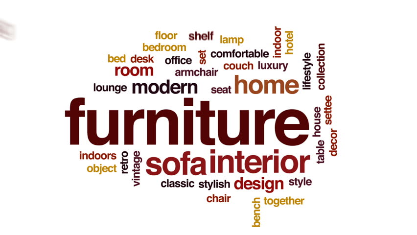 Furniture Design Videos furniture animated word cloud, text design animation. stock