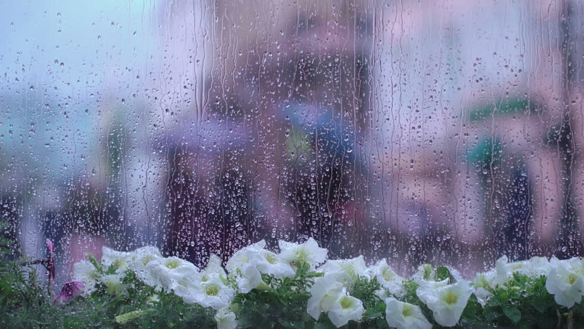 Raindrops on window glass, beautiful bokeh behind a wet city window. Abstract silhouettes of people walking under umbrellas. Concept of lifestyle of modern city. Intentional blurring of backgrounds in