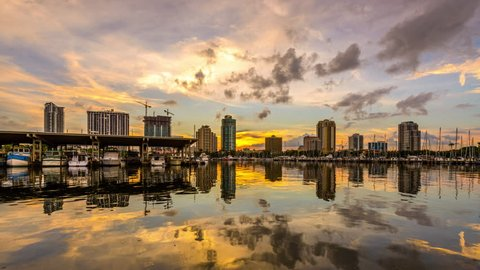 St. Petersburg, Florida, USA skyline time lapse.
