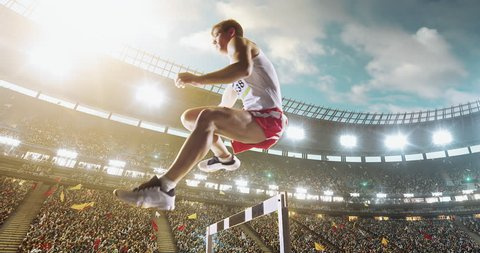 Track and field runner hurdles on the professional sports arena with bleaches full of people. Athlete wears unbranded clothes. Arena and people on it are made in 3D.