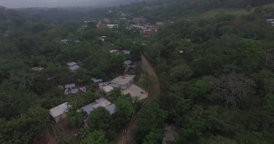 Aerial view of little village in the mountain