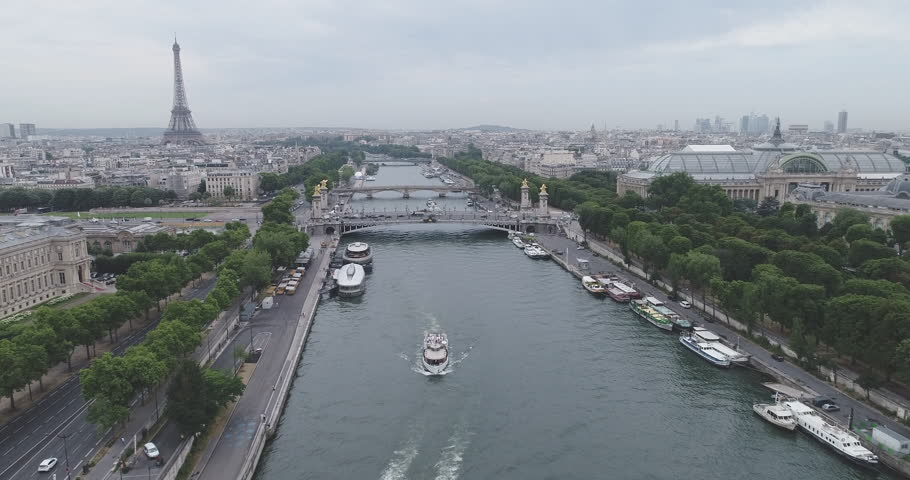 Aerial view of Paris and Seine river with overcast sky during day | Shutterstock HD Video #29493448