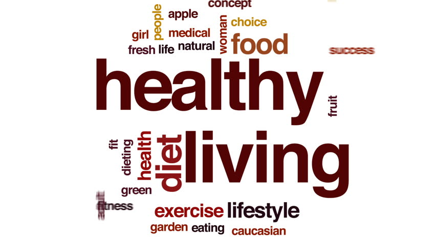 Healthy living animated word cloud, text design animation.