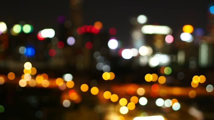 City view at night traffic lights Bangkok