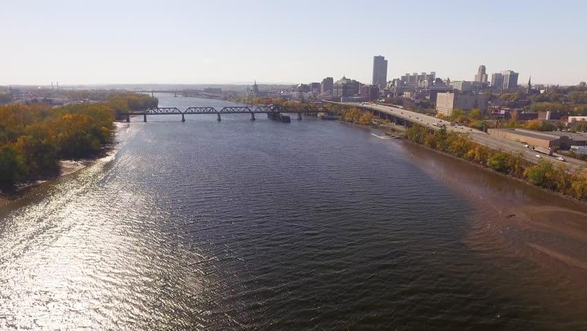 Aerial moving shot towards the city of Albany, NY.