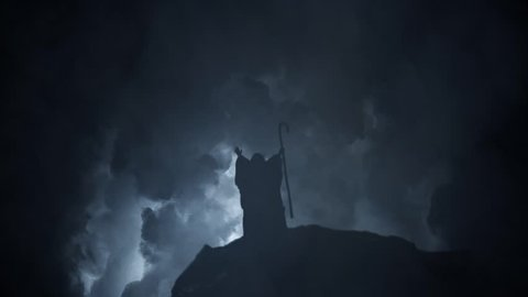 Moses on Sinai Mountain with Epic Lightning Storm