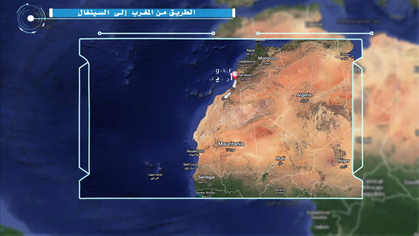 Animated map of the road between  Agadir in Morocco and Dakar in Senegal