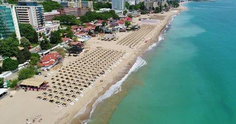 4k aerial video of the beach in Golden Sands, Zlatni Piasaci. Popular summer resort near Varna, Bulgaria