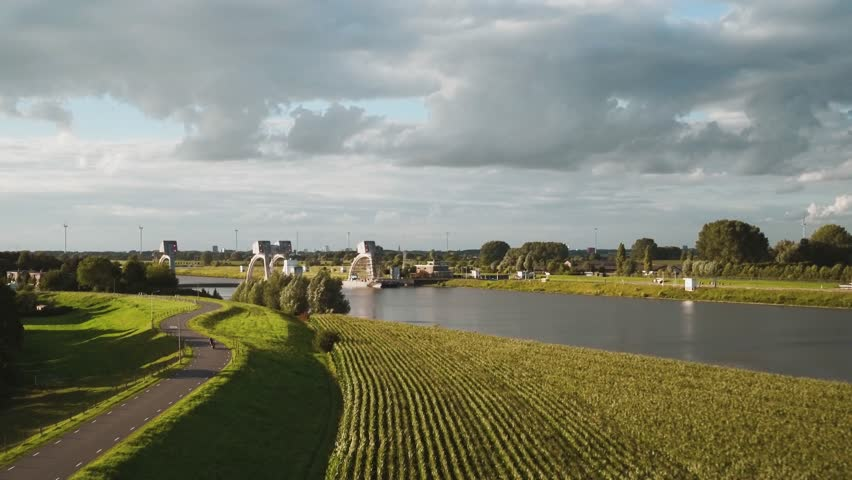 Aerial video at weil Hagestein in the river Lek (The Netherlands) by drone