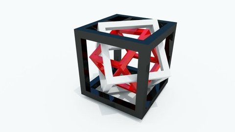 Abstract geometry full rotation loop of red, white and black wire-frame cubes placed within each other