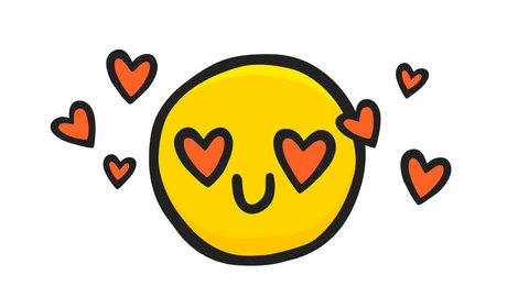 Smile with Hearts in Love Emoticon. Motion graphic Animation on white Background. 4K