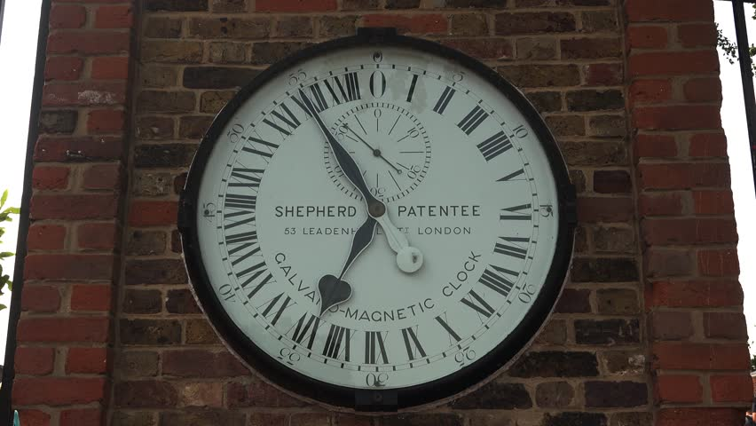 Greenwich Galvano-Magnetic Clock In Greenwich Observatory, London.Zoom In extreme close up