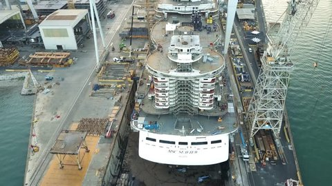 MONFALCONE, ITALY - AUGUST 9, 2017. Aerial view of unfinished cruise ship MSC Seaview at the Fincantieri shipyard