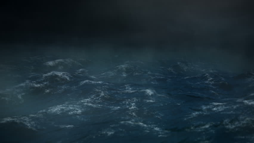 Stormy Sea at Night with Rain - 1080 HD - The camera rocks back and forth