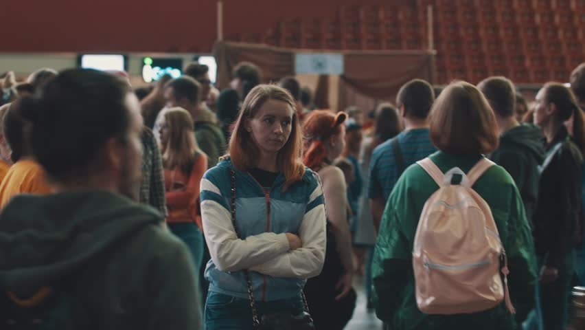 SAINT PETERSBURG, RUSSIA - MAY 20, 2017: Cosplay convection large crowd people in costumes moving, people in costumes. fallout game character, indoor hall | Shutterstock HD Video #29684059