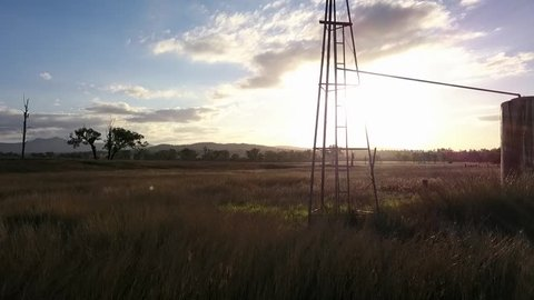 Windmill in the countryside of Queensland, Australia.