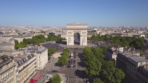 sunny summer day paris city famous arch de triumph aerial panorama 4k time lapse france