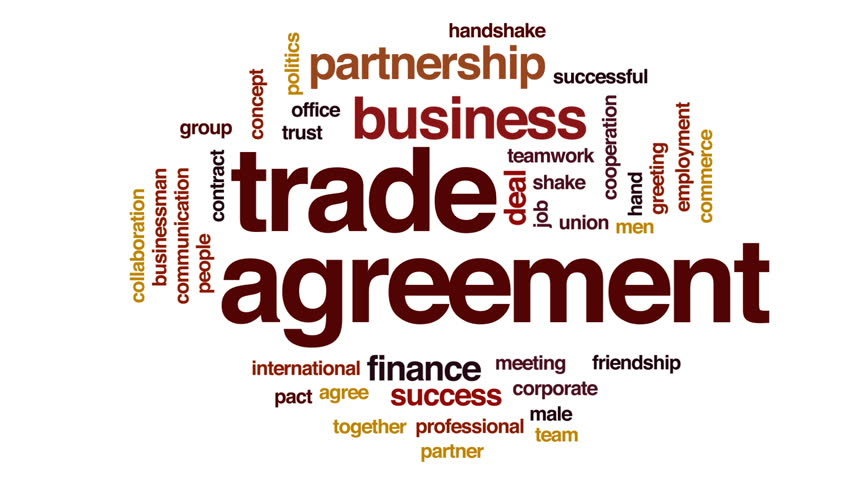 Trade agreement animated word cloud, text design animation. | Shutterstock HD Video #29784928