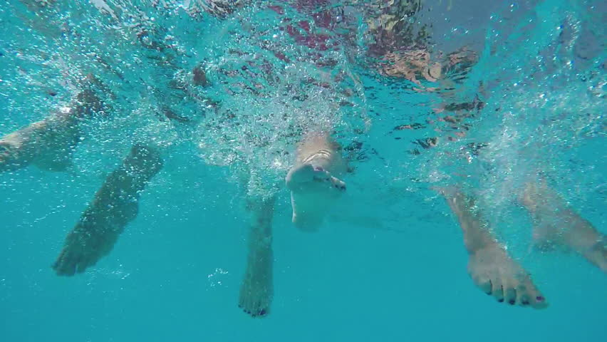 Beauty Young Woman Swimming Underwater In Swimming Pool Underwater View Happy Diving -5460