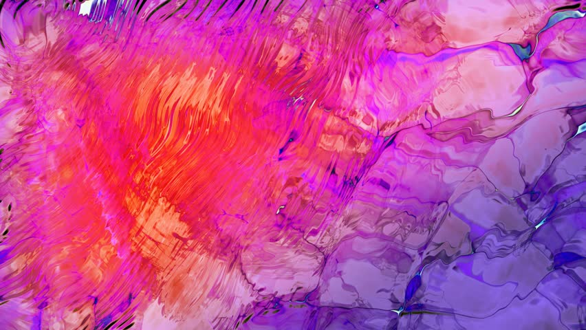 Purple ink in water surface. Slow motion loop modern background with oil painting effect. Water color drops floating in oil and water. 3d animation