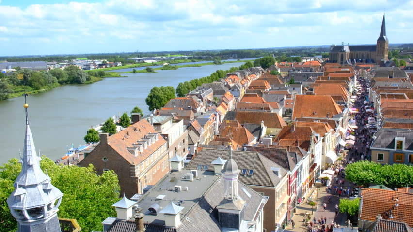 View from above on the city of Kampen at the river IJssel in Overijssel, The Netherlands during summer.