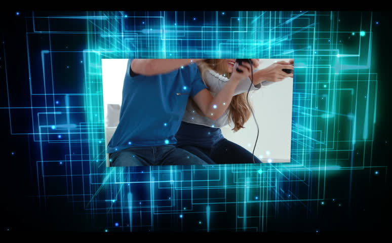 Young people with video games videos on animation digital blue and black grid background | Shutterstock HD Video #2982298