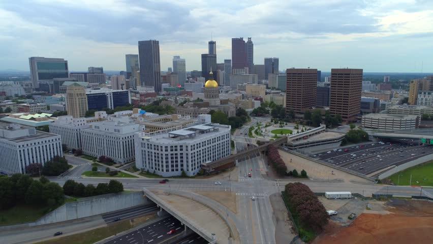 ATLANTA, GA, USA - AUGUST 4, 2017: Georgia State Capitol Building aerial shot 4k 60p