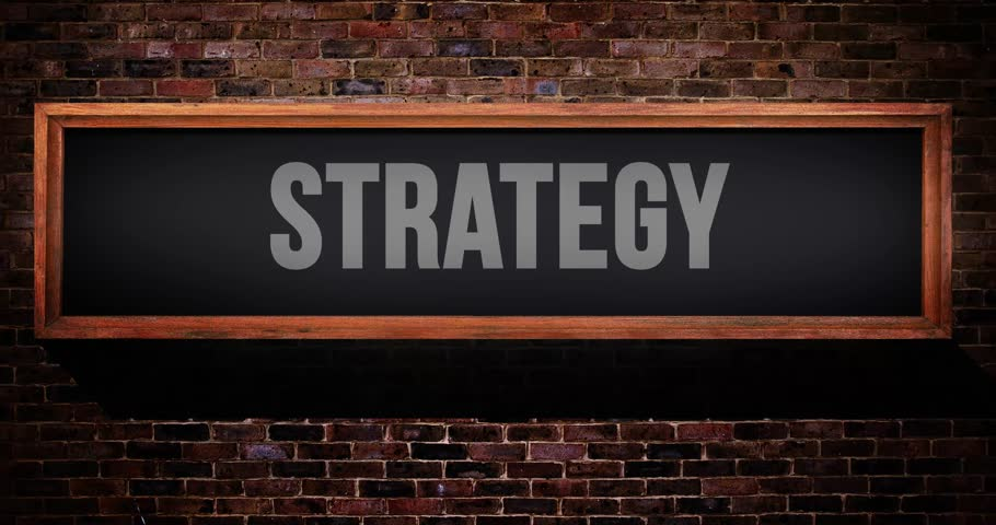 Strategy sign / on air wooden concept on a brick wall  | Shutterstock HD Video #29843518