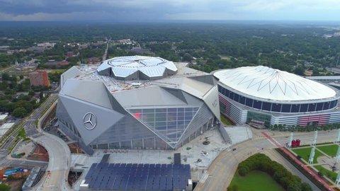ATLANTA, GA, USA - AUGUST 2, 2017: Aerial video Mercedes Benz Stadium Atlanta Georgia 4k