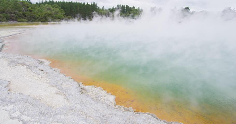 New Zealand travel - tourist attraction and travel destination Waiotapu pools. Champagne pool at Wai-O-Tapu pools Sacred Waters. Waiotapu, Rotorua, north island. Active geothermal area, Taupo. | Shutterstock HD Video #29858134
