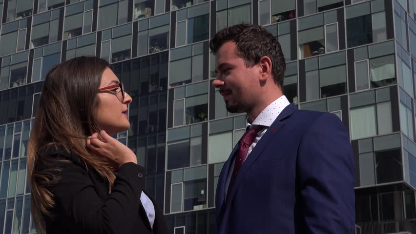 people inside elevator. portrait of young business couple job chatting talking smiling cheerful outdoors - 4k stock video clip people inside elevator