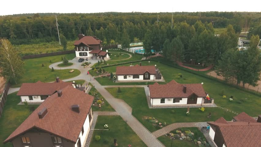 Aerial View Of Residential Area In Modern Village Stock Footage