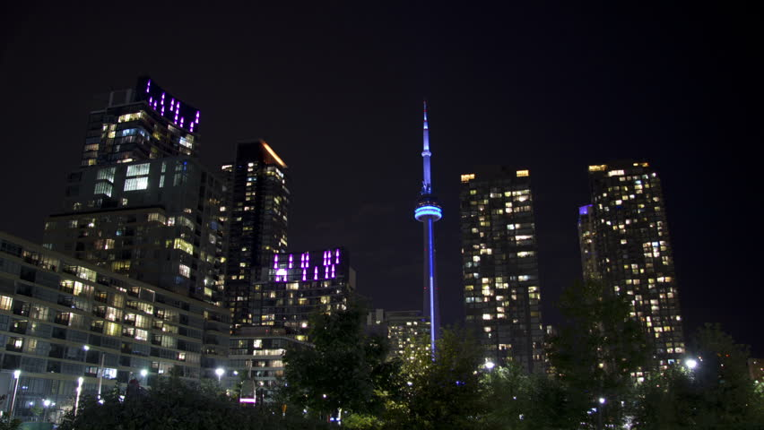 A beautifully colorful zooming time lapse shot of downtown Toronto at night.